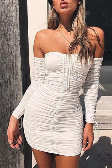 Women's Sexy Plain Printed Off The Shoulder Long Sleeve Pleated Detail Mini Bandeau Dress