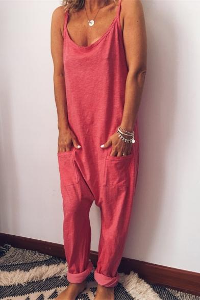 Купить со скидкой Women's Simple Plain Sleeveless Straps Baggy Jumpsuits with Pocket
