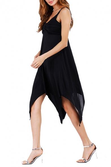 Womens Chic Simple Solid Color Sleeveless Handkerchief Hem Midi Strap Dress Prom Dress
