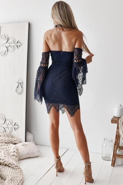 Womens Hot Fashion Plain Print Sexy Off the Shoulder Long Sleeve Mini Bodycon Lace Dress
