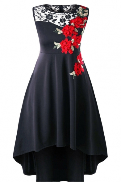 Womens Plus Size Chic Floral Embroidery Sleeveless Lace-Panel High Low Hem Midi Flowy Dress