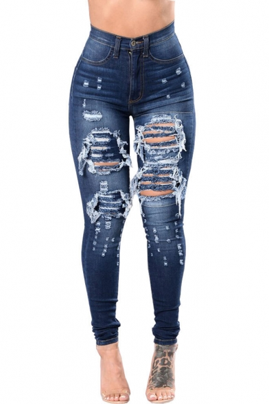 Cool Stylish Destroyed Ripped Dark Blue Skinny Fit Jeans for Women LM519716 фото
