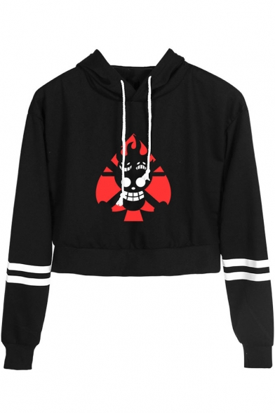 Fashion Comic Fire Skull Print Striped Long Sleeve Cropped Drawstring Hoodie