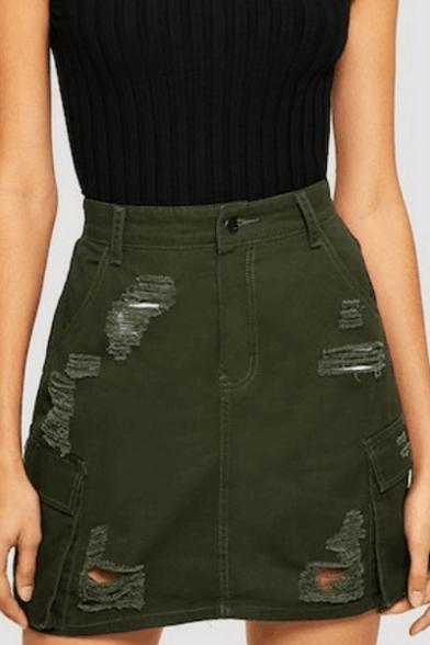 New Fashion Distressed Ripped Flap Pocket Side Army Green Mini A-line Denim Skirt