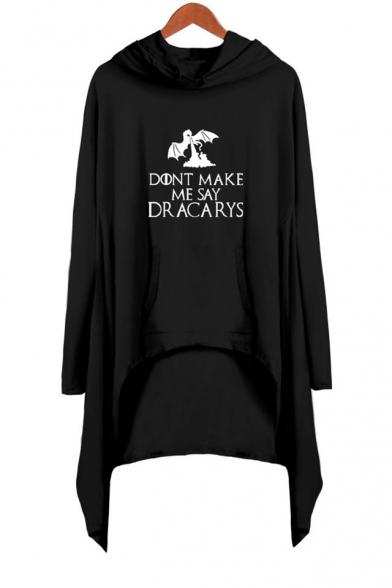 New Popular Dragon Letter DONT MAKE ME SAY DRACARYS Long Sleeve Hooded Shift Asymmetrical Dress