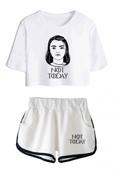 New Stylish Figure Letter NOT TODAY Cropped Short Sleeve Tee Casual Shorts Two-Piece Set, Color 1;color 2;color 3;color 4;color 5;color 6, LM524576