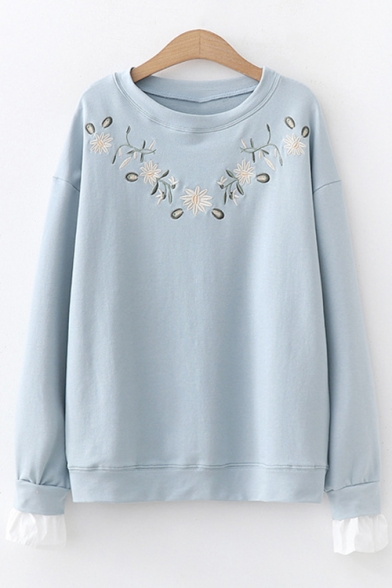Simple Floral Embroidery Long Sleeve Round Neck Pullover Sweatshirt