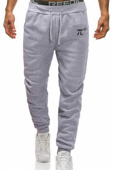 Simple Number π Print Guys Casual Cotton Sport Loose Joggers Sweatpants