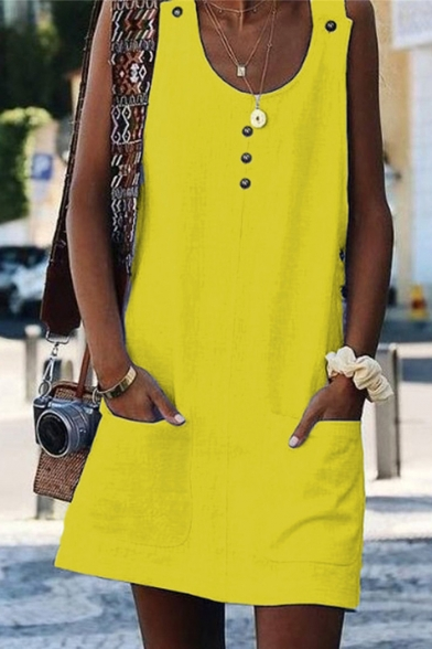 Summer Fancy Button Embellished Scoop Neck Solid Color Mini Swing Tank Dress with Pocket