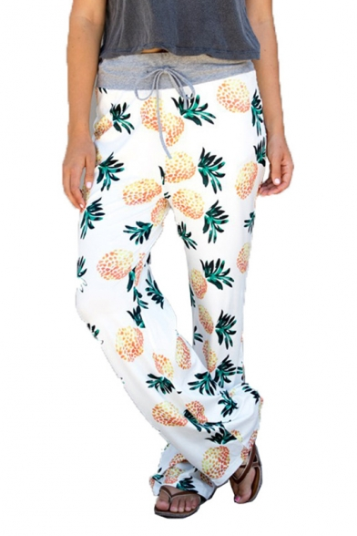 Summer Women's Trendy Drawstring Waist Allover Pineapple Print White Baggy Palazzo Wide-Leg Pants