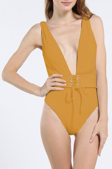 Trendy Simple Plain Grommet Lace-Up Waist Sexy Plunged Neck Maillot One Piece Swimsuit