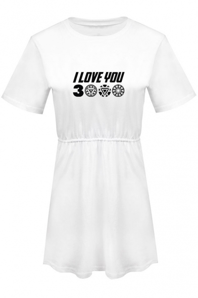 Unique Letter I Love You 3000 Printed Short Sleeve Round Neck Mini A-Line Dress