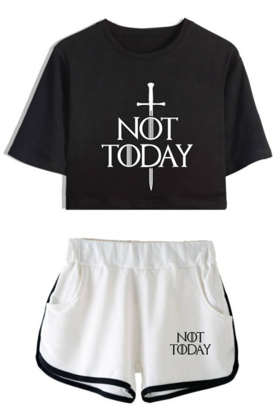 Купить со скидкой Unique Sword Letter NOT TODAY Cropped Tee Sport Shorts Casual Loose Two-Piece Set for Girls