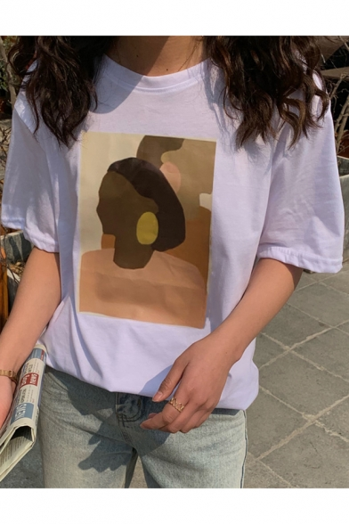 Vintage Aesthetic Abstract Figure Face Printed Short Sleeve Relaxed T-Shirt LM525373 фото