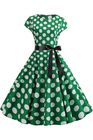 Vintage Round Neck Classic Polka Dot Printed Bow-Tied Waist Midi A-Line Swing Dress