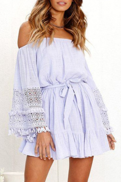 Women's Summer Stylish Off the Shoulder Long Sleeve Tassel Hem Tied Waist Mini A-Line Dress