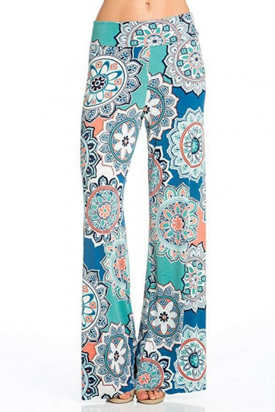 WOMENS PALAZZO TROUSERS LADIES FLORAL PRINT WIDE LEG BAGGY PANTS