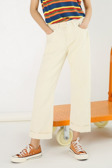 Womens Apricot High Rise Rolled Hem Solid Color Wide-Leg Jeans