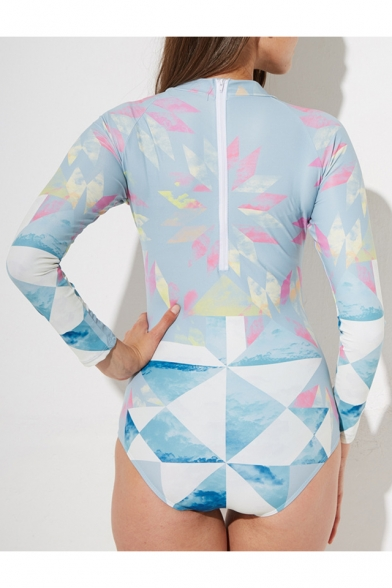 Womens Fashion Geometric Pattern Round Neck Long Sleeve Zip Back Surf Rash Guard One Piece Swimsuit
