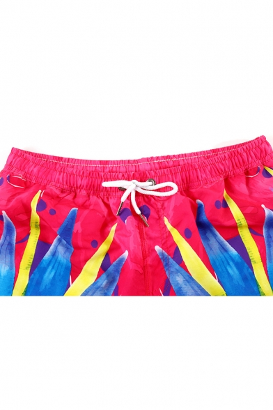 Cool Colorful Ombre Color Guys Beach Red Swim Trunks with Liner
