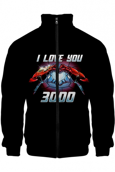 Cool Iron Hand Heart I LOVE YOU 3000 Printed Stand Collar Long Sleeve Zip Up Black Jacket