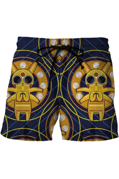Creative Comic Character Printed Drawstring Waist Summer Navy Beach Swim Trunks for Men