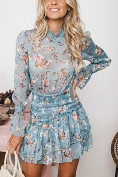 Fashion Blue Floral Printed Long Sleeve Stand Collar Womens Mini A-Line Ruffled Dress