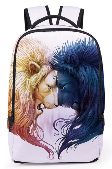 Fashion Creative 3D Lion Printed White School Bag Laptop Backpack 30*13*43 CM