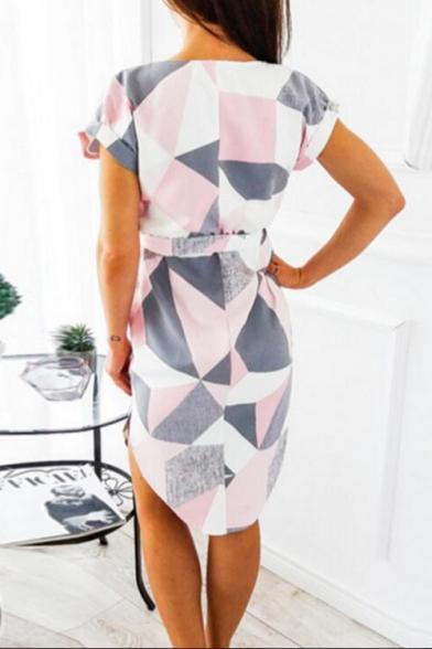 Fashion Geometric Printed V-Neck Short Sleeve Tied Waist Midi Sheath Dress
