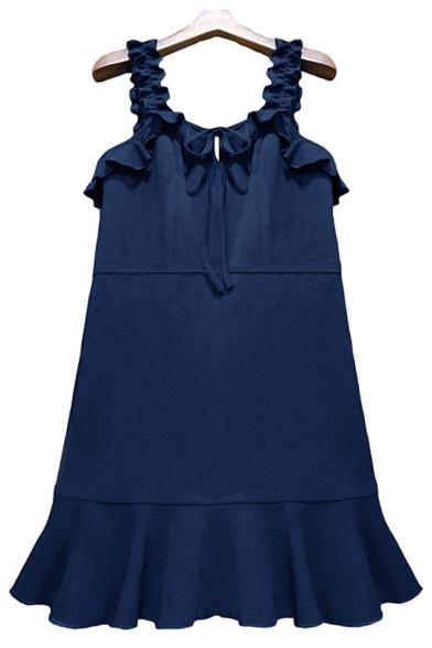 Girls Summer Trendy Ruffled Straps Tied Front Sleeveless Simple Plain Mini A-Line Tank Dress