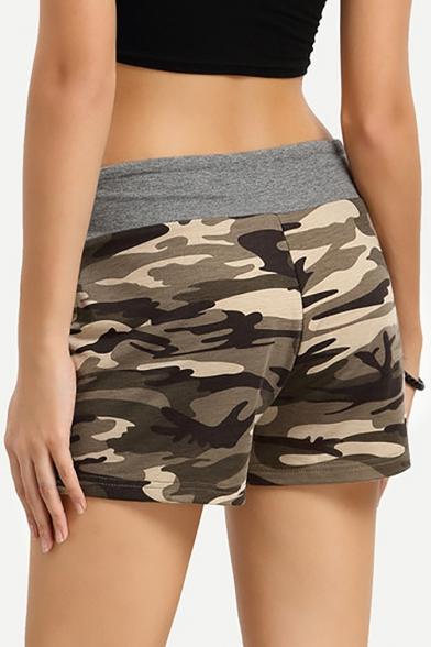 Hot Fashion Classic Army Green Camo Printed Drawcord Elastic Waist Womens Sport Athletic Sweat Shorts