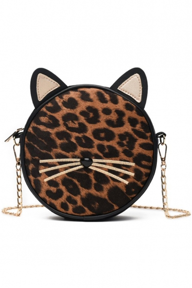 Lovely Cat Shape Leopard Pattern Chain Strap Round Crossbody Bag 17*6*21 CM
