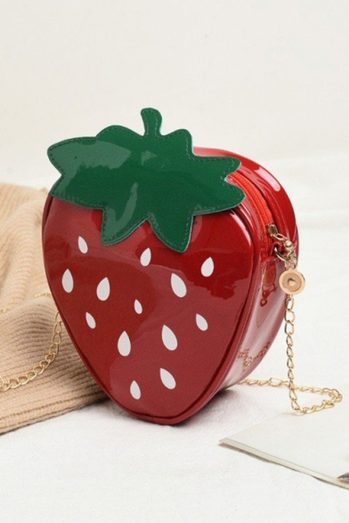Lovely Red Strawberry Pattern Mini Crossbody Purse for Girls 16*6*18 CM