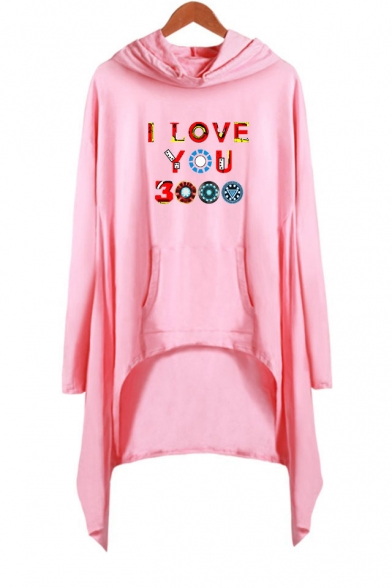 New Popular Long Sleeve Hooded Colorful Letter I Love You 3000 Casual Asymmetrical Dress
