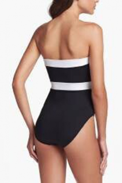 New Stylish Colorblock Bandeau Top V Neck Slim Fit Black and White One Piece Swimwear