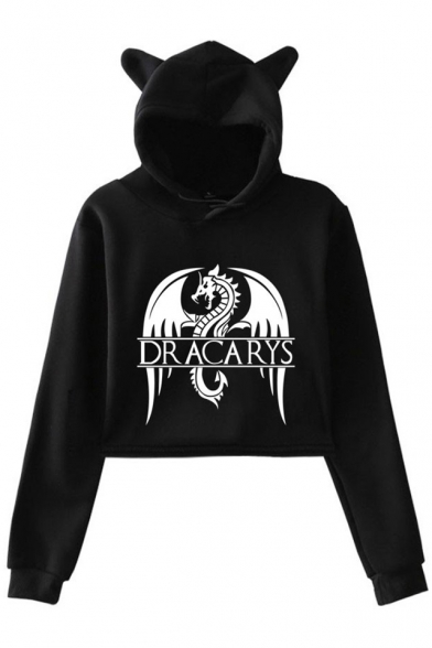 New Stylish Long Sleeve Cute Cat Ear Dragon Dracarys Cropped Hoodie