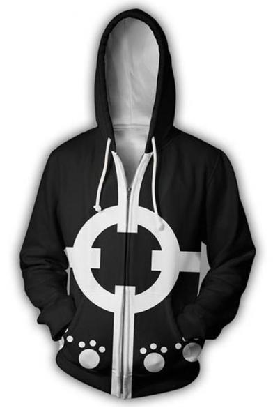 New Trendy One Piece Comic Cosplay 3D Printed Long Sleeve Black Zip Up Hoodie