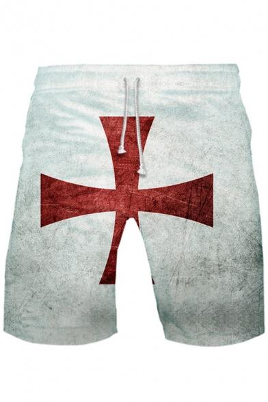 Popular Knights Templar Red Cross Print Loose Casual Sport Shorts