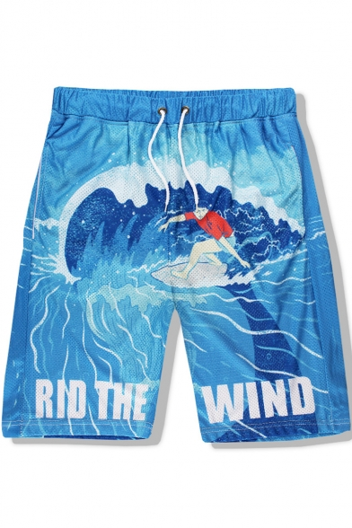 RIO THE WIND Whale Wave Print Drawstring Waist Quick Dry Blue Swim Trunks for Men