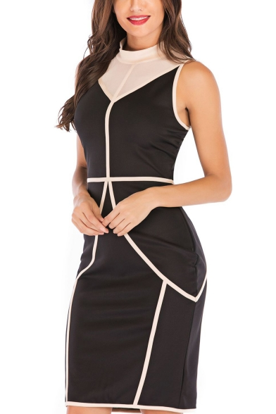 Sexy Women Color Block Mesh Patchwork Stand Collar Sleeveless Split Back Midi Bodycon Dress