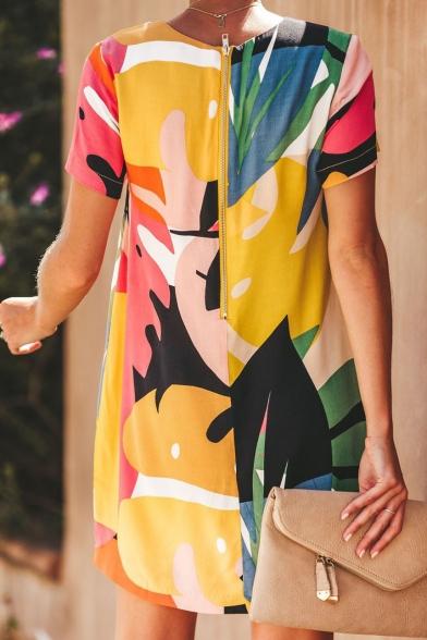 Summer Girls Cool Colorblock Printed Round Neck Short Sleeve Zip Back Mini T-Shirt Dress