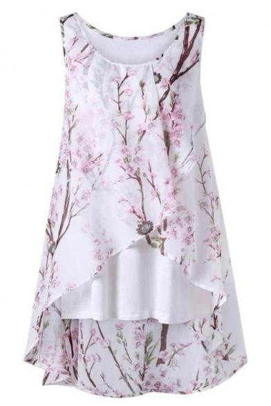 Summer Round Neck Sleeveless Chic Flower Printed High Low Hem Chiffon Tank Top