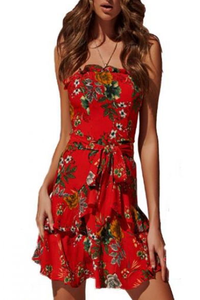 Summer Trendy Red Floral Printed Tied Waist Mini Ruffled Bandeau Dress