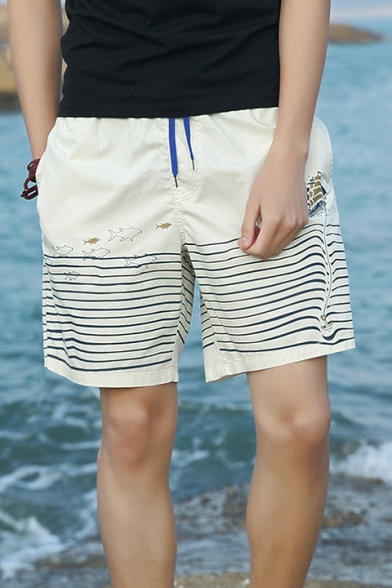 Summer Wave Fish Printed Zip Pocket Side Drawstring Waist Mens Cotton Swim Shorts