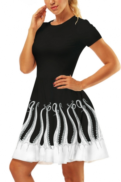 Trendy Octopus Printed Hem Round Neck Short Sleeve Black Mini A-Line T-Shirt Dress