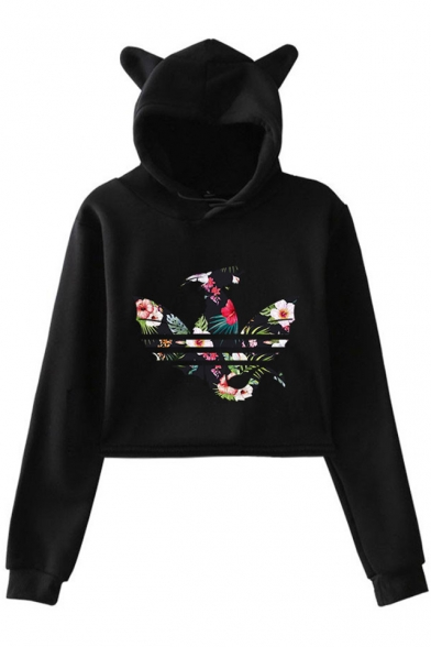 Unique Leaf Floral Dragon Printed Cute Cat Ear Design Long Sleeve Crop Hoodie
