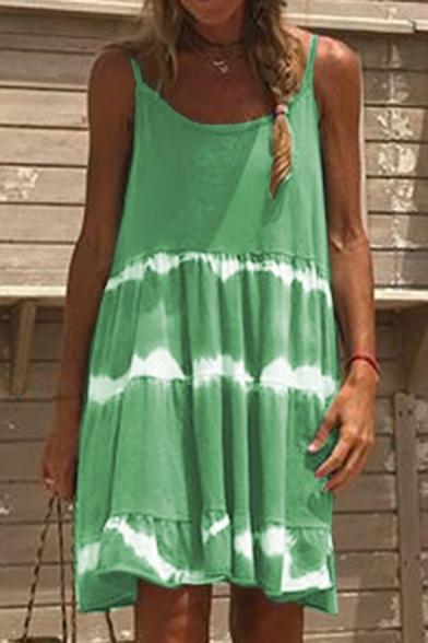 Women's Basic Simple Plain Print Scoop Neck Sleeveless Cami Dress