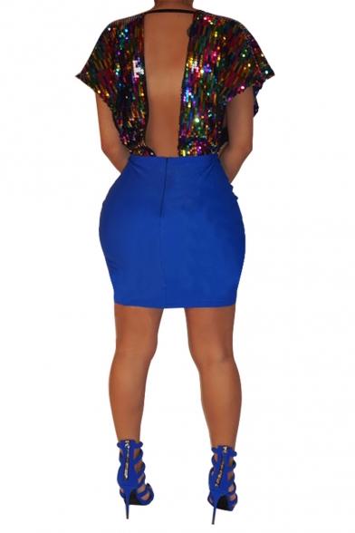 Women's Color Block Sequined Plunge Neck Short Sleeve Open Back Mini Bodycon Party Dress