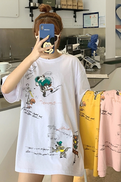 Women's Funny Cartoon Printed Letter Round Neck Half Sleeve Loose Oversized Graphic T-Shirt