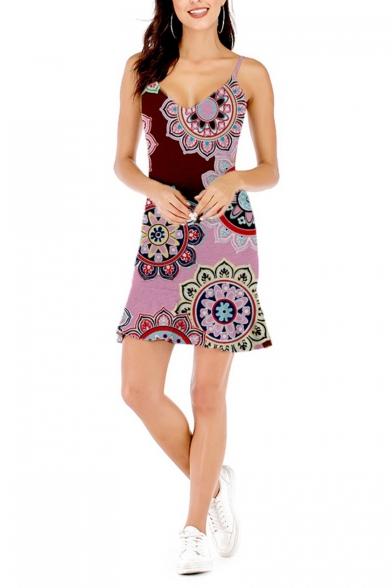 Women's Hot Fashion Tribal Printed V-Neck Sleeveless Cut Out Side Sheath Mini Cami Dress
